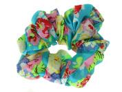 Blue Floral Print Scrunchie Hair Bobble