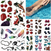 10 Sheets 3D Tattoo Sticker Temporary Waterproof for Beauty Body Art Fish Feather Decal
