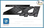GMC Sierra Z71 4x4 decals stickers Dark Grey & Diamond Plate Pattern - DPBLKFDG (2007-2013) bed side 1500 2500 HD