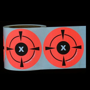 """250 Mega Pack 4"""" Target Sticker Roll - Self Adhesive """"SimpleSpot"""" Shooting Targets - Easy To See Bright Fluorescent Orange Shooting Targets - You Get 250 TARGETS for the price of 200!"""