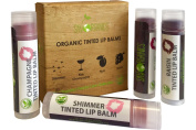 Organic Tinted Lip Balm by Sky Organics - 4 Pack Assorted Colours -- With Beeswax, Coconut Oil, Cocoa Butter, Vitamin E- Minty Lip Plumper for Dry, Chapped Lips- Tinted Lip Moisturiser. Made in USA