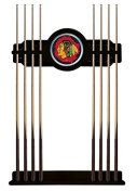 Chicago Blackhawks Cue Rack in Black Finish