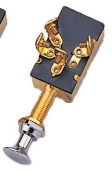MARINE BOAT THREADED PUSH PULL 3 POSITION OFF ON ON SWITCH CP BRASS NUT