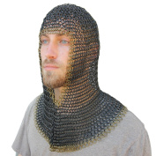 Mediaeval V Brass Face Mild Steel Chainmail Coif Armour