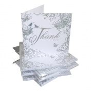 Pack Of 36 Simon Elvin Thank You For The Wedding Gift Cards - Silver Scroll Design - DP217N