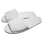 Musbury Fabrics 10 Pairs Hotel/Spa White Terry Towelling Open Toe Disposable Slippers