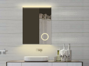 Lux Aqua Bathroom Mirror with Makeup Mirror and LED Light in Warm & Cool White - 62x80 cm