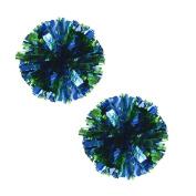 Set of 2 Plastic Ring Pom Metallic Cheerleading Poms 100g Green+Blue