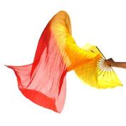 Zcargel New 1.8M Hand Made Belly Dance Dancing Silk Bamboo Long Fans Veils Art Colourful