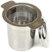 H & S Stainless Steel Tea Infuser Strainer Filter Steeper with Lid for Teapot Kettle Loose Leaf Grain Tea Cups Mugs Pots