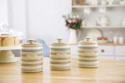 KitchenCraft Classic Collection Striped Ceramic Tea Caddy, 800 ml (28 fl oz) - Cream