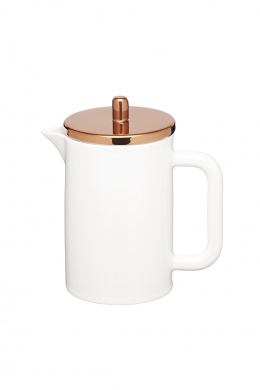 KitchenCraft Le'Xpress Bone China Porcelain 6-Cup Cafetière with Copper-Effect Lid, 800 ml (1.5 pints) - White