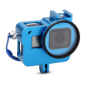 EACHSHOT Aluminium Alloy Skeleton Thick Solid Protective Case Shell + 52mm Uv Filter for Gopro Hero 5 Camera - Wide Angle Mode Have No Vignetting - Blue