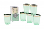 Plastic Green Tumblers Set of 6 Glasses Height 9.5cm