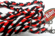 Roping Knotted Horse Western Barrel Reins Rein Nylon Braided Red WH BK 60765