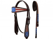 Tahoe Western Patriotic American Flag Browband Horse Headstall with Reins