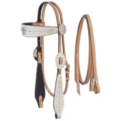 Silver Royal Desert Hope Cross Headstall and Reins Set with Inlay & White Hair Overlay Light Oil