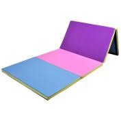 "Giantex 1.2mx3mx2"" Gymnastics Mat Folding PU Panel Gym Fitness Exercise Multi-Colours 2016"