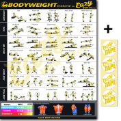 Eazy How To Bodyweight Exercise Workout Poster BIG 50cm x 70cm Train Endurance, Tone, Build Strength & Muscle Home Gym Chart