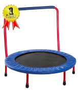 Portable & Foldable Trampoline - 90cm dia. Durable Construction Safe for Kids with Padded Frame Cover and Handle - Red