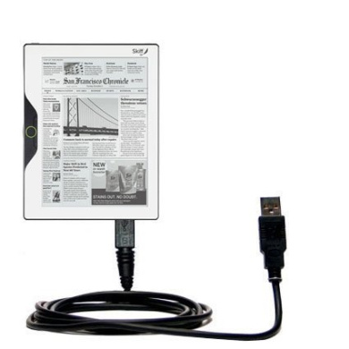 USB Data Hot Sync Straight Cable designed for the Skiff Reader with Charge Function - Two functions in one unique Gomadic TipExchange enabled cable