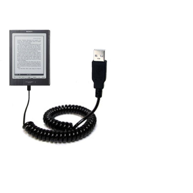 Sony PRS-700BC Digital Reader compatible Unique Gomadic Coiled USB Charge and Data Sync cable - Charging and HotSync functions with one cable. Built with TipExchange