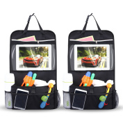 INTEY 2 Pack Car Back Seat Organiser Multi-Pocket Travel Storage With Touch Screen iPad Holder