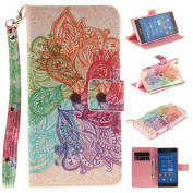Sony Xperia Z2 case, JGNTJLS [with Free Tempered Glass Screen Protector] Premium PU Leather Wallet Embedded Flip Magnetic Detachable Close Lock with [Colourful-Pattern Lanyard Strap] and [Credit Card Holder Slots] Smart Standing Folio Book Style Type S ..