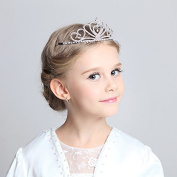 Child Crystal Cinderella Tiara Crown for Flower Girls, Sparkling Princess Costume Crown
