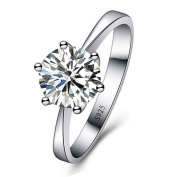 Skyllc® Delicate Silver Plated Sparkling Exquisite Rhinestone Diamond Wedding Engagement Ring for Women