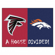 FANMATS 19569 NFL - Falcons - Broncos House Divided Rug, Team Colour, 90cm x 110cm