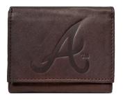 Atlanta Braves MLB Embossed Logo Dark Brown Leather Trifold Wallet