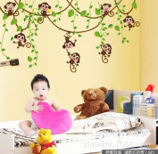 New Cute mini monkeys vinyl wall decals stickers kids animal plants wallpaper mural girls boys kids bedroom house nursery decor