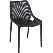 Black Plastic Polypropylene Chair - Commercial and Domestic Use Indoors and Outdoors - Ideal for cafes bistros balconies and patios