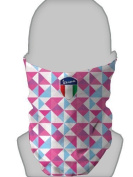 SNOOD NECK WARMER FACE MASK VESPA SHIELD TRIANGLE BLUE AND PINK DESIGN MADE IN YORKSHIRE