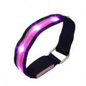 TOOGOO(R)High Visibility Running Cycling Adjustable Reflective LED Flashing Fabric Armband Pink