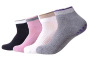 QBSM 4 Pairs Non Slip Skid Yoga Pilates Socks with Grips Cotton for Womens