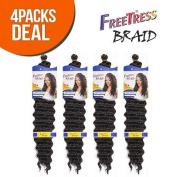 FreeTress Synthetic Hair Braids Deep Twist Bulk 22 (4-Pack, 1B) by Freetress