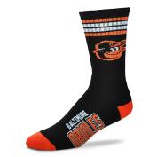 MLB 4 Stripe Deuce Crew Socks Mens-Baltimore Orioles-Size Large