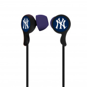 MLB New York Yankees Armour Stereo Hands Free Earbuds, Small, Black