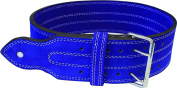 Ader Leather Power Weight Lifting Belt- 10cm , Blue, Double Buckle