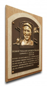 MLB Cleveland Indians Bob Feller Baseball Hall of Fame Plaque on Canvas, Medium, Brown