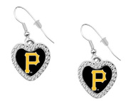 Pittsburgh Pirates Crystal Heart Dangle Earrings. Clip on Available