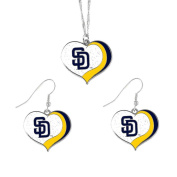 San Diego Padres MLB Sports Team Logo Charm Gift Glitter Heart Necklace and Earring Set