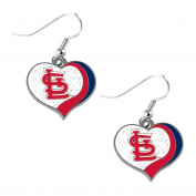 St. Louis Cardinals MLB Sports Team Logo Glitter Heart Earring Swirl Charm Set
