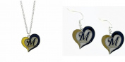 Officially Licenced Swirl Heart Necklace and Earring Set Milwaukee Brewers