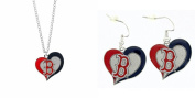 Officially Licenced Swirl Heart Necklace and Earring Set Boston Red Sox