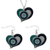 Officially Licenced Swirl Heart Necklace and Earring Set Seattle Mariners