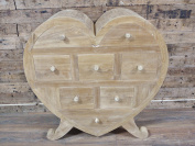 Large Shabby Chic Style Wooden Heart Cabinet With Draws