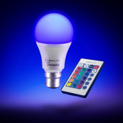 AURAGLOW 7w Remote Control Colour Changing LED Light Bulb B22, Super Bright Warm White Dimmable Version - 3rd Generation